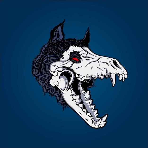 Teschio di lupo Vettore Premium
