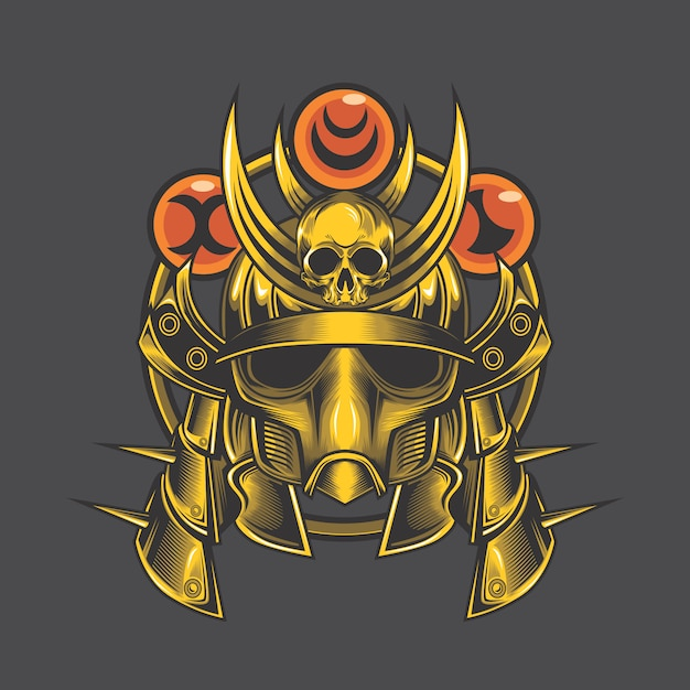 Teschio di samurai d'oro Vettore Premium