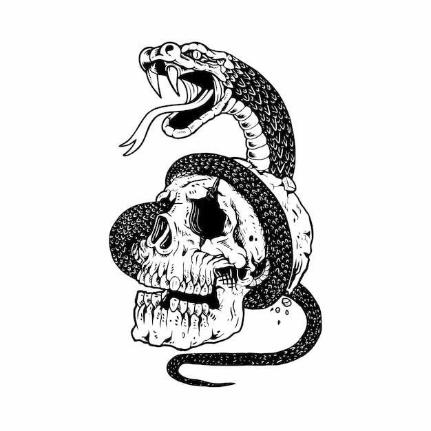 Teschio e serpente Vettore Premium