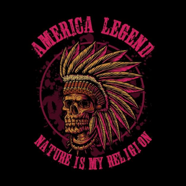 Teschio indiano america leggenda Vettore Premium