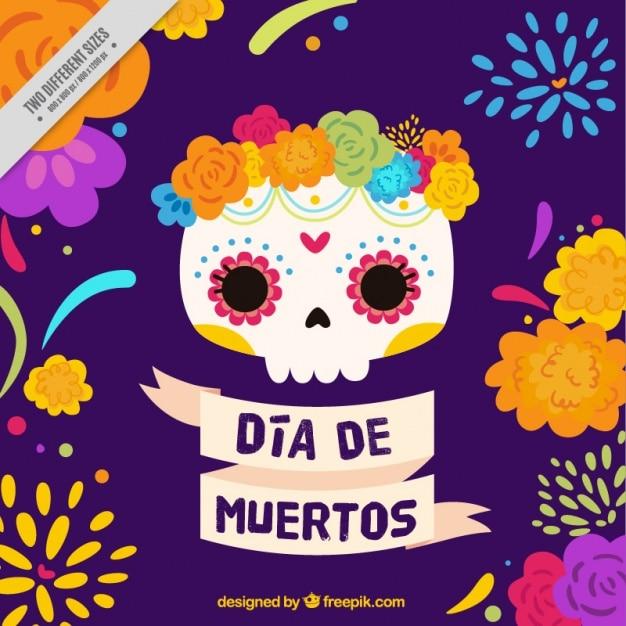 Teschio messicano con i fiori per il giorno dei morti Vettore gratuito