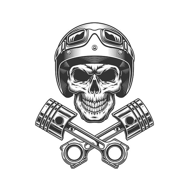 Teschio moto vintage nel casco moto Vettore gratuito
