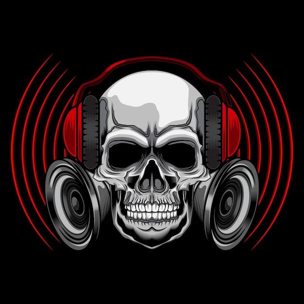 Teschio musicale con auricolare Vettore Premium