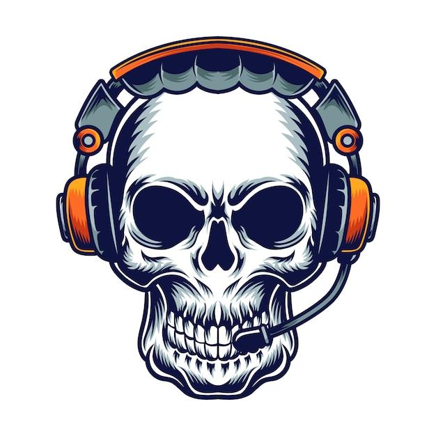 Teschio musicale Vettore Premium