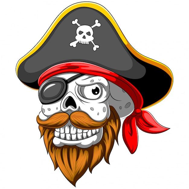 Teschio pirata con cappello e benda sull'occhio Vettore Premium