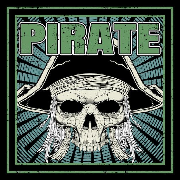 Teschio pirata disegno a mano Vettore Premium