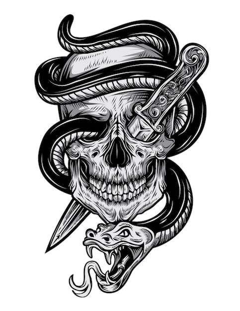 Teschio tatuaggio serpente Vettore Premium