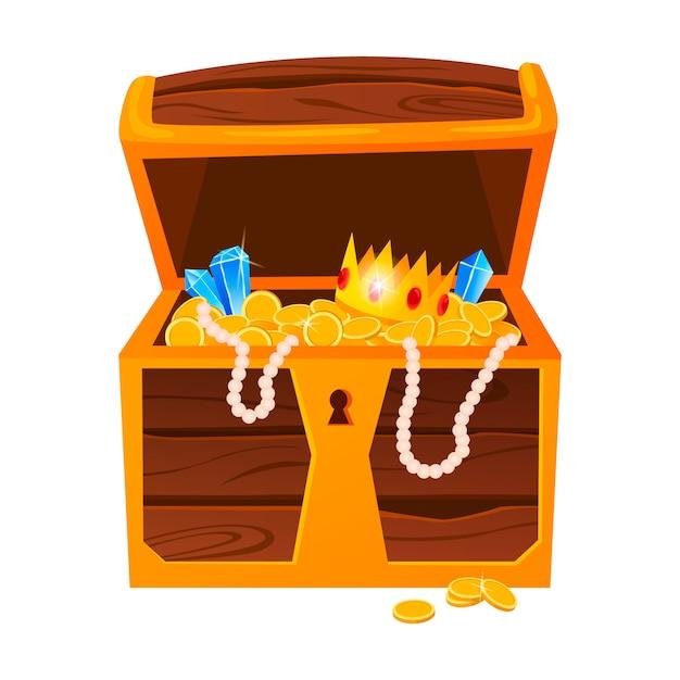 Tesori d'oro con diamanti costosi e corone di lusso nella vecchia cassa di legno e sacchetti di tessuto isolati. Vettore Premium