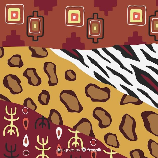 Tessuto africano e sfondo di pelle animale Vettore gratuito