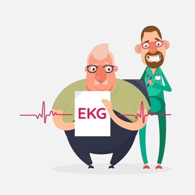 Test di prevenzione delle malattie cardiovascolari, diagnostica cardiaca Vettore Premium