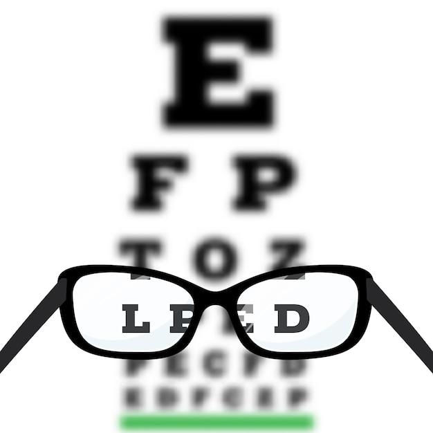 Test di visione oculare, diagnosi di miopia per scarsa vista sulla tabella di test oculare di snellen. Vettore Premium