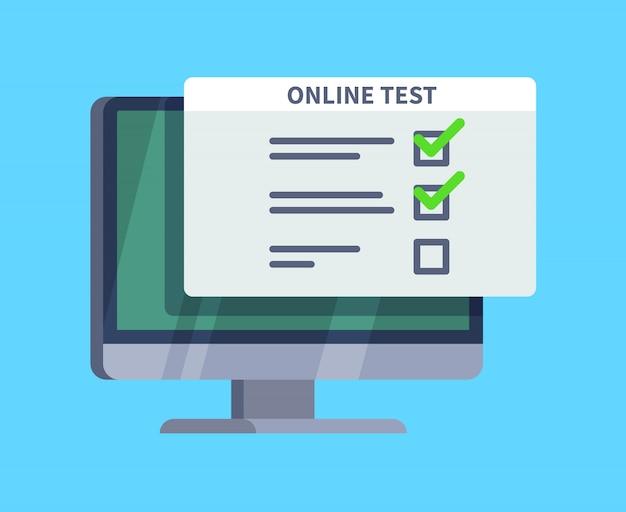 Test online. modulo di sondaggio del questionario sullo schermo del pc. elenco degli esami, test del computer e concetto di quiz online Vettore Premium