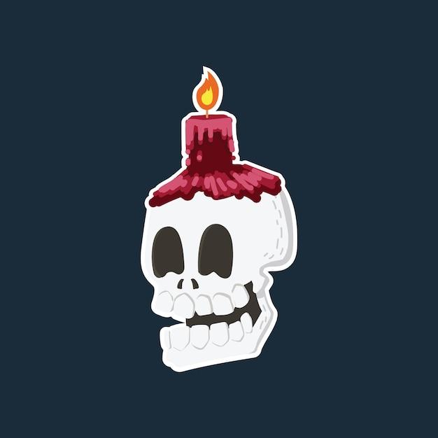 Testa del cranio che ride del fumetto disegnato a mano con la candela rossa. Vettore Premium