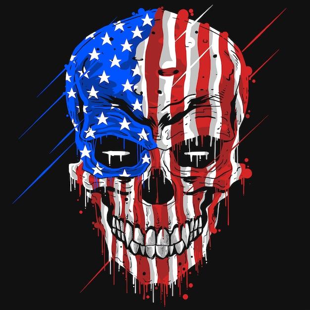 Testa del cranio con il colore della bandierina dell'america di usa Vettore Premium
