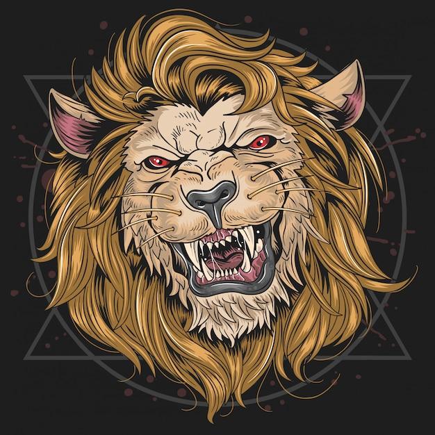 Testa del fielce del leone Vettore Premium