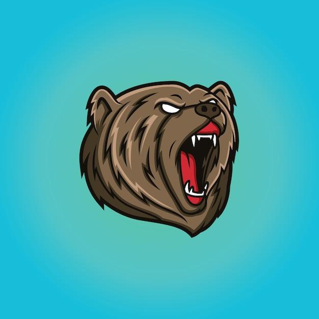 Testa dell'orso mascotte logo template Vettore Premium