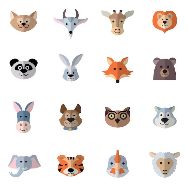 Testa di animali piatta Vettore gratuito