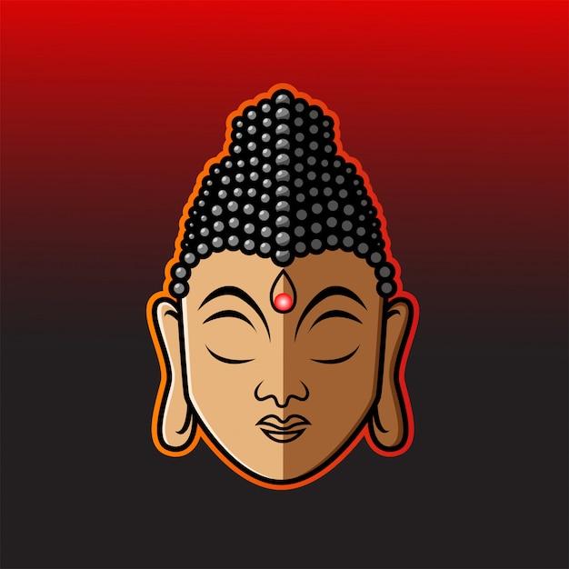 Testa di buddha mascotte Vettore Premium