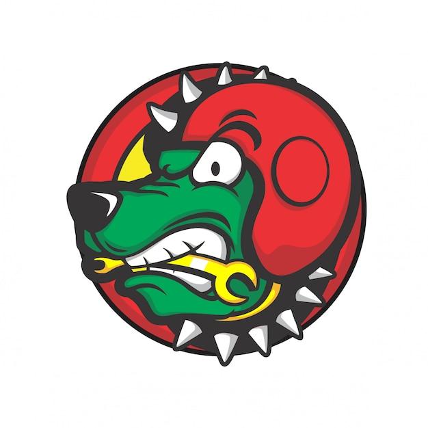 Testa di cane che indossa un casco rosso e morde uno strumento Vettore Premium