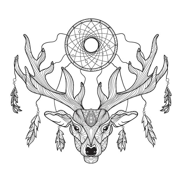 Testa di cervo con corna e acchiappasogni per t-shirt Vettore Premium