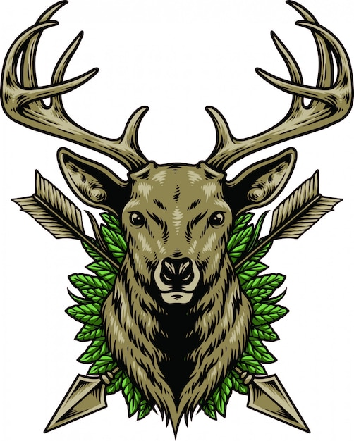 Testa di cervo Vettore Premium