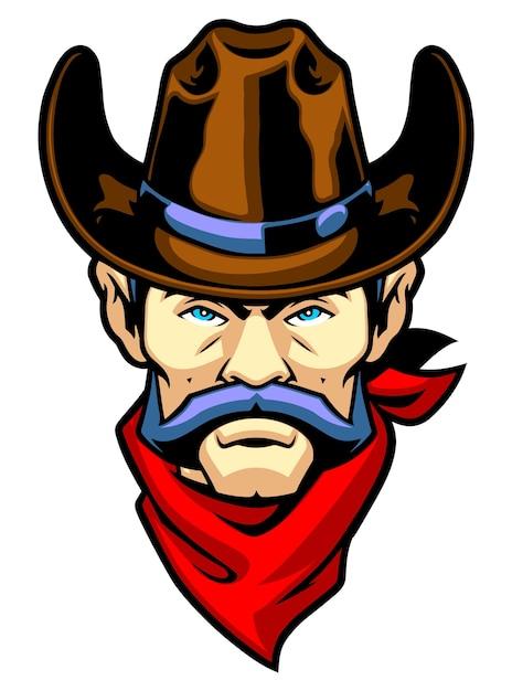 Testa di cowboy mascotte con bandana Vettore Premium