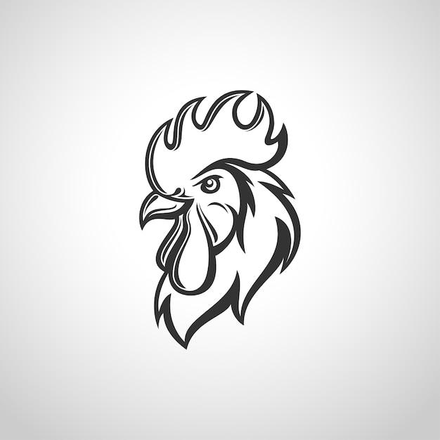 Testa di gallo Vettore Premium