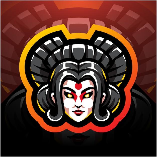 Testa di geisha esport mascotte logo design Vettore Premium