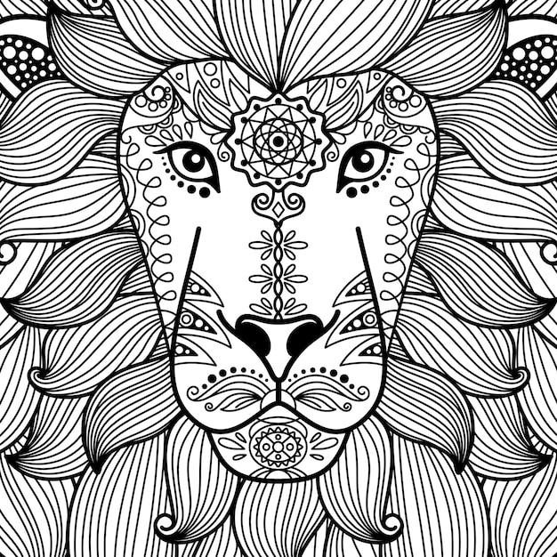 Testa di leone bianco e nero ornamentale tribale Vettore Premium