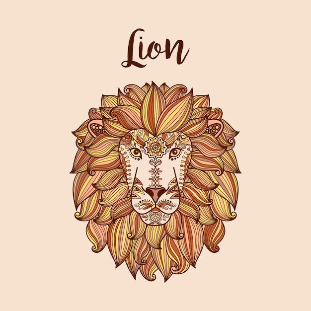 Testa di leone con motivo floreale etnico Vettore Premium