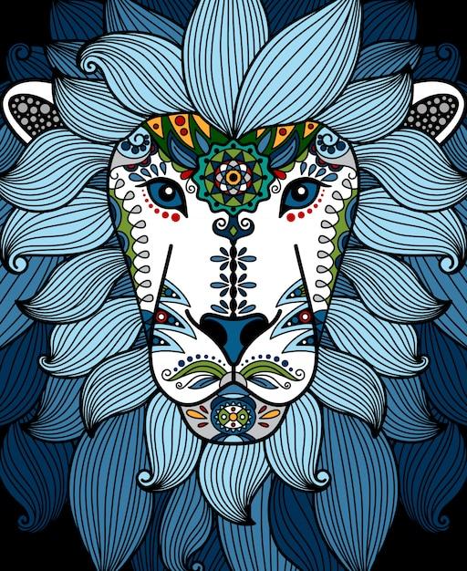 Testa di leone con ornamento floreale etnico blu Vettore Premium