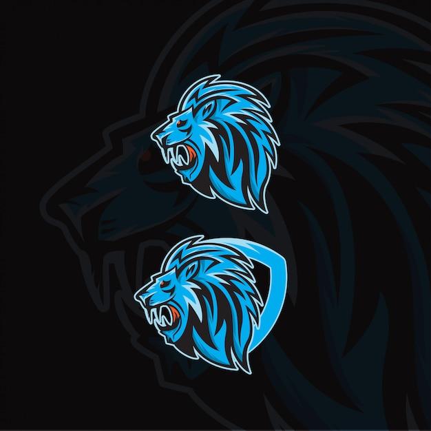 Testa di leone per modello logo esport Vettore Premium