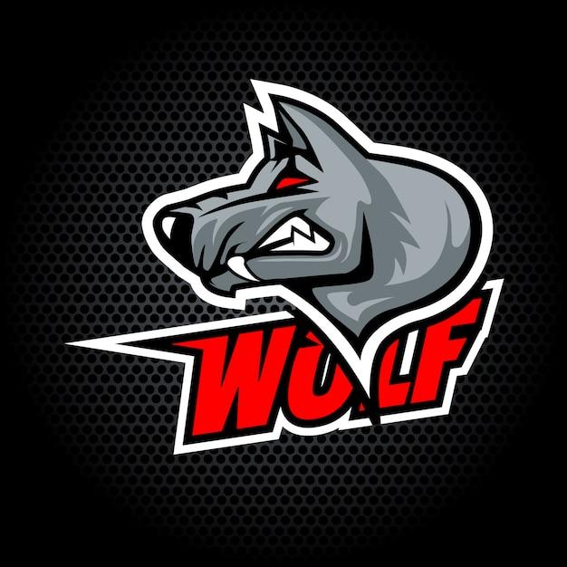 Testa di lupo dal lato può essere utilizzato per il logo del club o della squadra. Vettore Premium