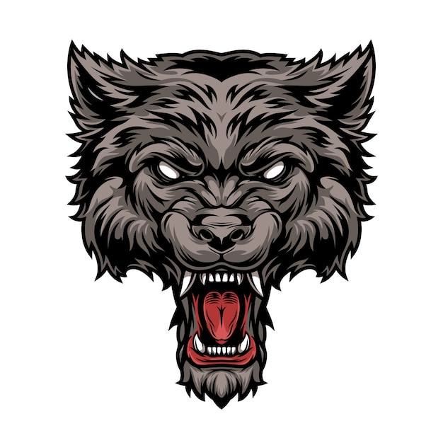 Testa di lupo feroce spaventoso pericoloso colorato Vettore gratuito