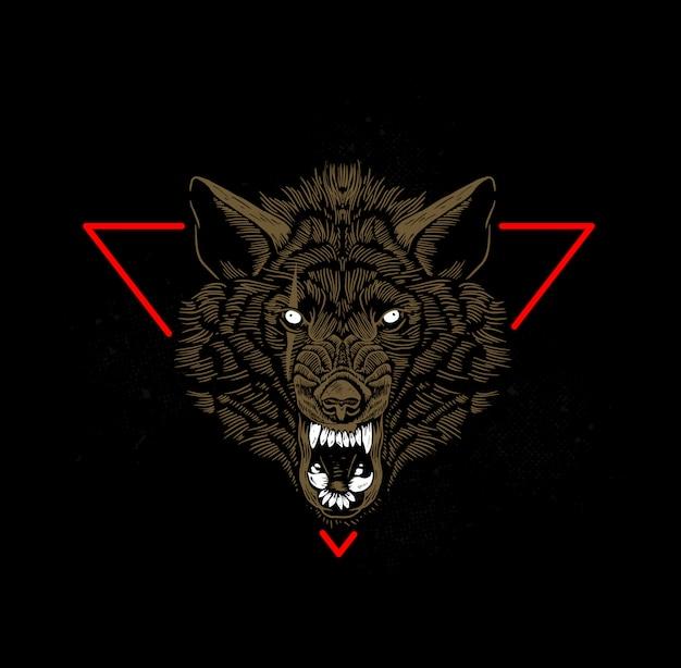 Testa di lupo Vettore Premium