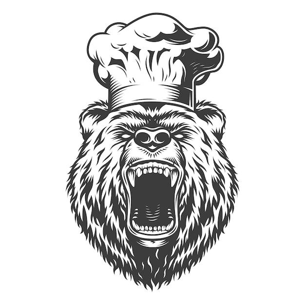 Testa di orso cuoco in cappello cuoco Vettore gratuito