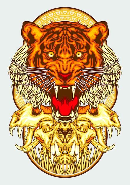 Testa di osso di tigre Vettore Premium
