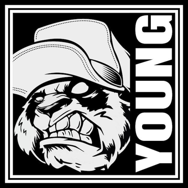 Testa di panda arrabbiato che indossa un cappello Vettore Premium