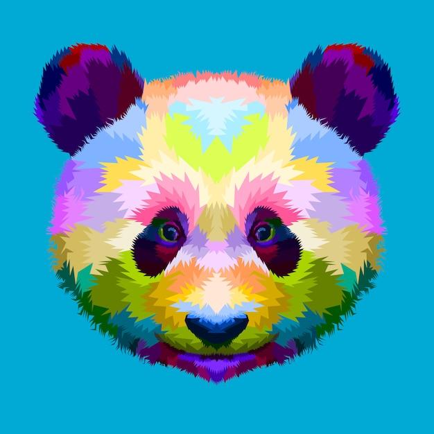 Testa di panda colorato su stile geometrico pop art Vettore Premium