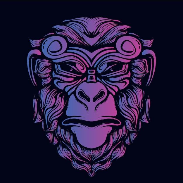 Testa di scimmia grafica decorativa faccia bagliore colore Vettore Premium