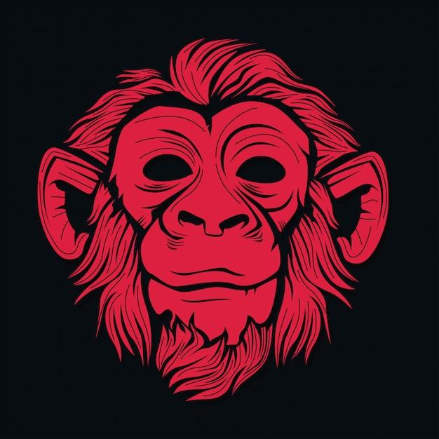 Testa di scimmia Vettore Premium