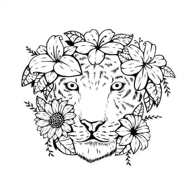 Testa di tigre animale con disegno floreale Vettore Premium