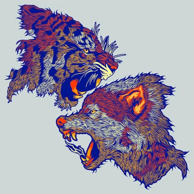 Testa di tigre e lupo Vettore Premium
