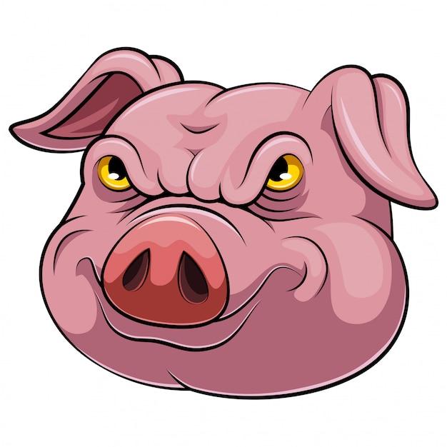 Testa di un cartone animato di maiale Vettore Premium