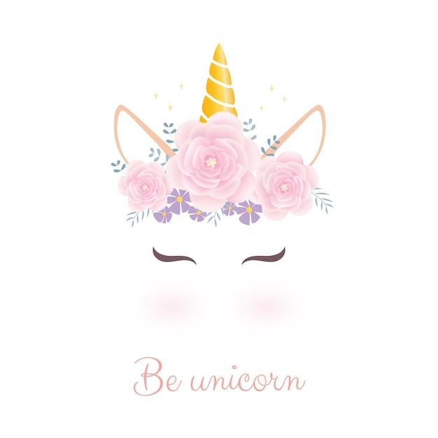 Testa di unicorno carina con corona di fiori. Vettore Premium
