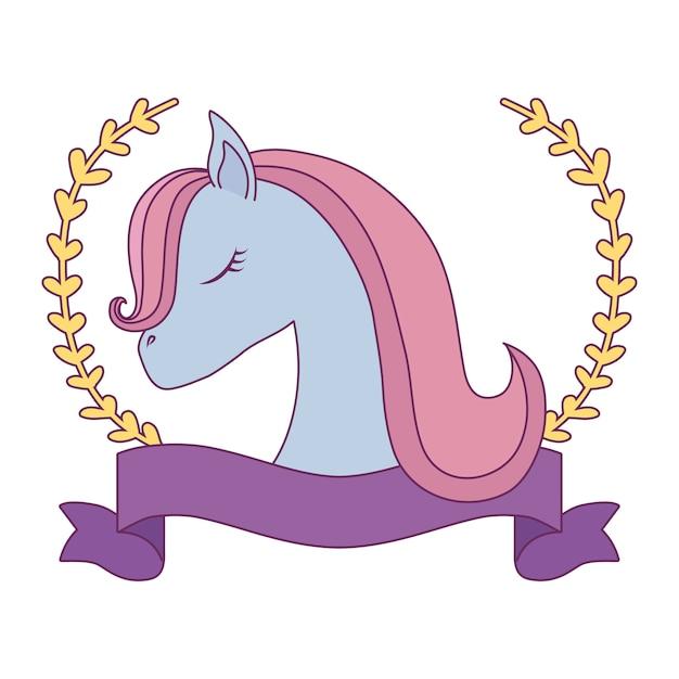 Testa di unicorno carino con nastro e rami di foglie Vettore Premium