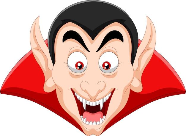 Testa di vampiro di cartone animato isolato su sfondo bianco