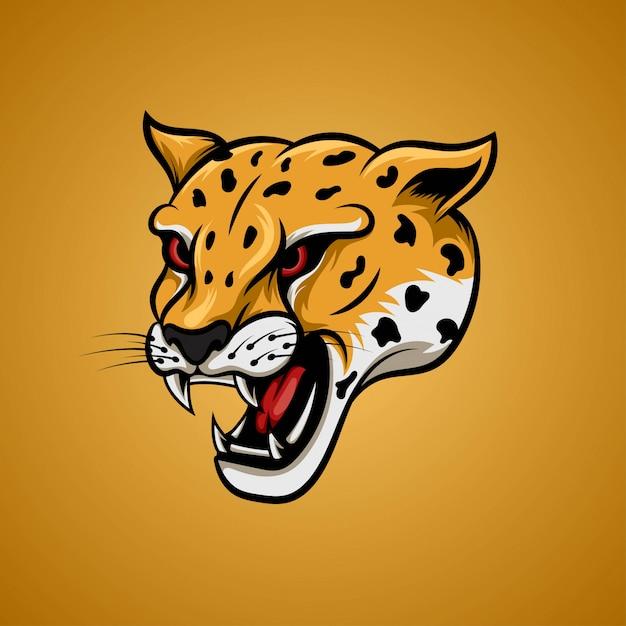 Testa gialla del ghepardo nell'angolo laterale Vettore Premium