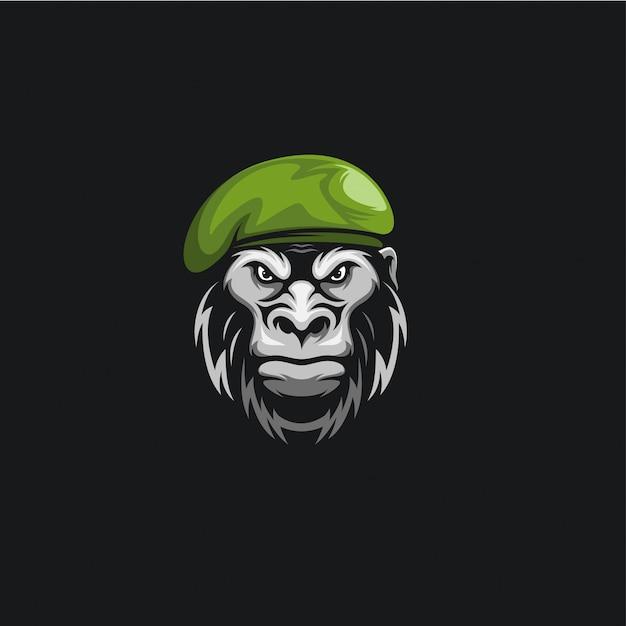 Testa scimmia esercito logo illustrazione Vettore Premium