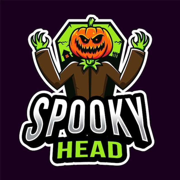 Testa spettrale halloween esport logo template Vettore Premium